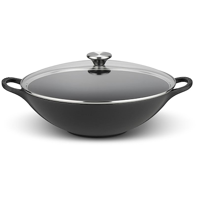 Le Creuset wok 32 cm mat sort med glaslåg