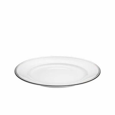 Pillivuyt hvid/sølv flad tallerken 18 cm