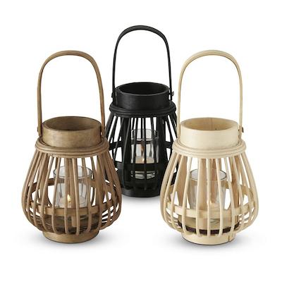 Lanterne i bambus 17 cm assorteret