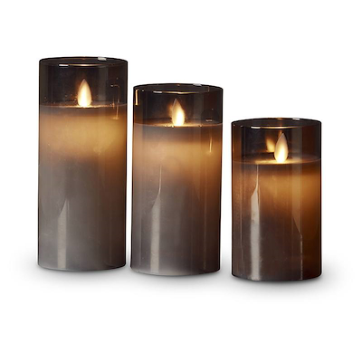 LED lys med bevægelig flamme i glas 3 størrelser røgfarvet
