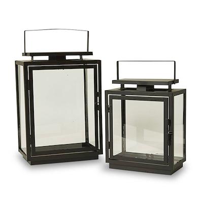 Dacore lanterne sæt 2 stk i sort metal 22 og 29 cm