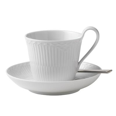 Royal Copenhagen Hvid Halvblonde højhanks kop og underkop 25 cl