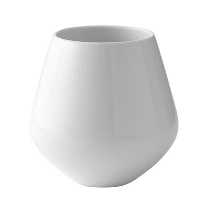 Royal Copenhagen hvid riflet vase mellem 15 cm
