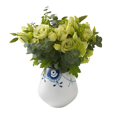 Royal Copenhagen blå mega riflet vase lille 12 cm