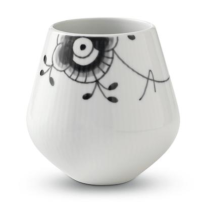 Royal Copenhagen Sort Mega Riflet vase lille 12 cm