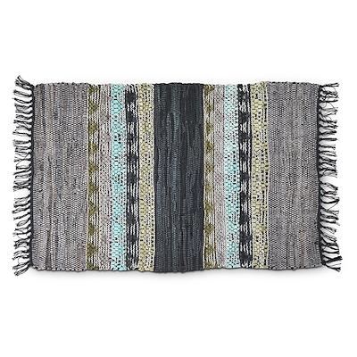 Tæppe i skind/ bomuld 60x90 cm blågrøn