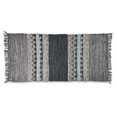 Tæppe i skind/ bomuld 70x140 cm blågrøn