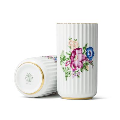 Lyngby Porcelæn vase hvid med blomster 15 cm