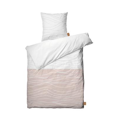 Juna Waves sengesæt hvid/nude 140x200