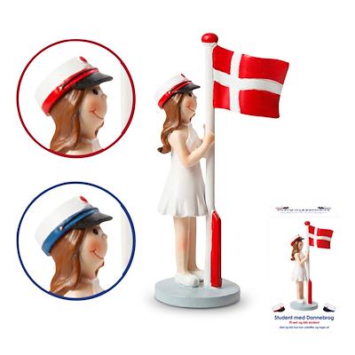 Det Gamle Apotek student med flag pige 12 cm