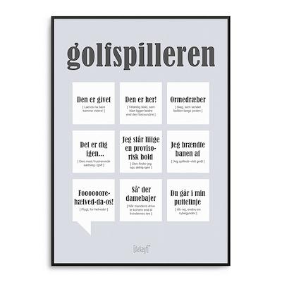 Dialægt plakat Golfspilleren 50x70 cm