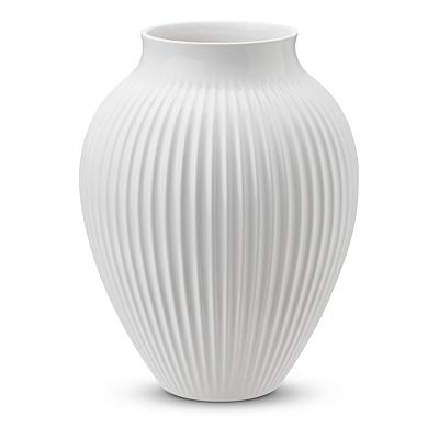 Knabstrup vase riller 20 cm hvid