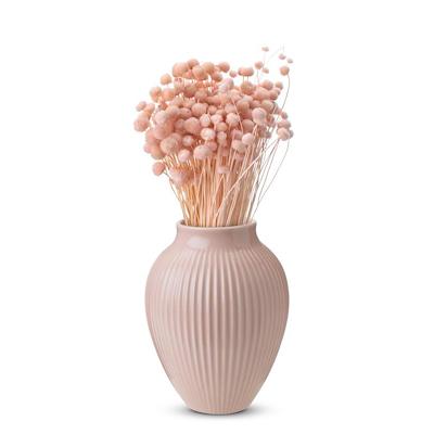 Knabstrup vase riller 20 cm rosa