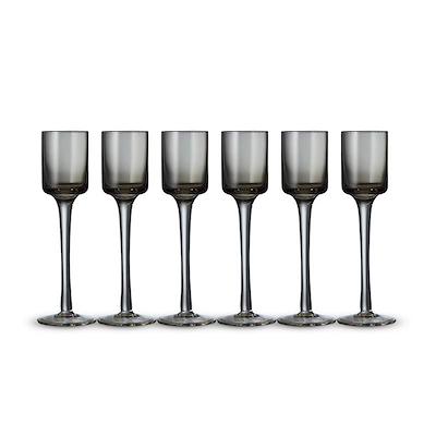 Lyngby Glas snapseglas grå 6 stk 5 cl