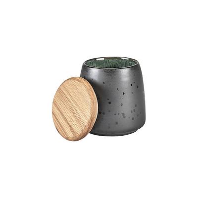 Bitz krukke med låg sort/grøn 12 cm