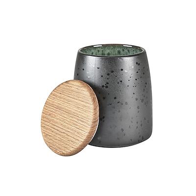 Bitz krukke med låg sort/grøn 16,5 cm