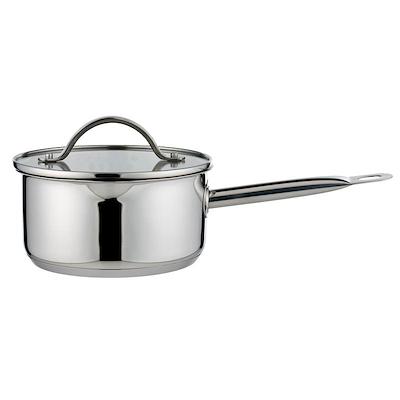 Aldente kasserolle 1,5 liter rustfrit stål med glaslåg