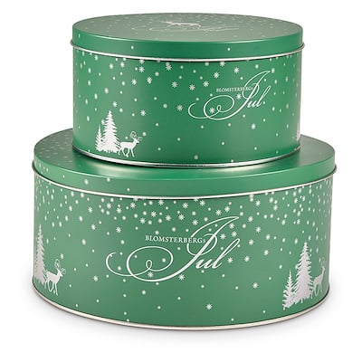 Blomsterbergs kagedåsesæt 2 stk grøn/sølv
