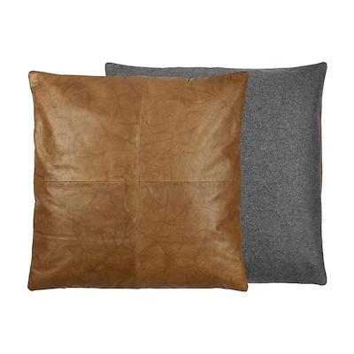 Södahl Lodge leather pude 60x60 cm tobacco/sort