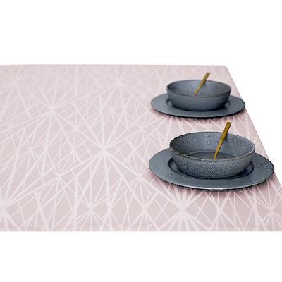 Södahl damask dug diamond grid 140x270 cm lys rosa
