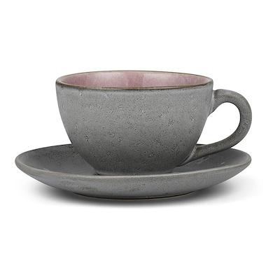 Bitz kop med underkop grå/lyserød 24 cl