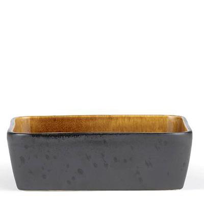 Bitz fad rektangulær sort/amber 19x14 cm