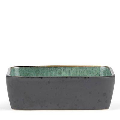 Bitz fad rektangulær sort/grøn 19x14 cm