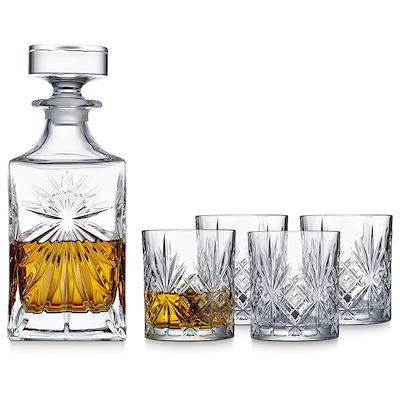 Lyngby Glas Melodia whiskysæt 5 dele