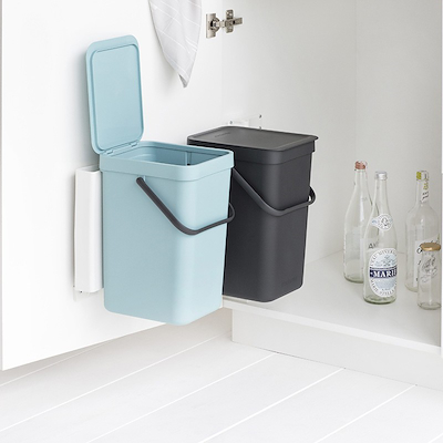 Brabantia sortering affaldsspand 2 stk 12 ltr mint og grå