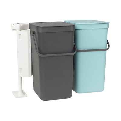 Brabantia sortering affaldsspand 2 stk 16 liter mint og grå