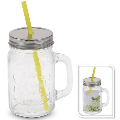 Glas med hank samt låg med sugerør 0,45 ltr