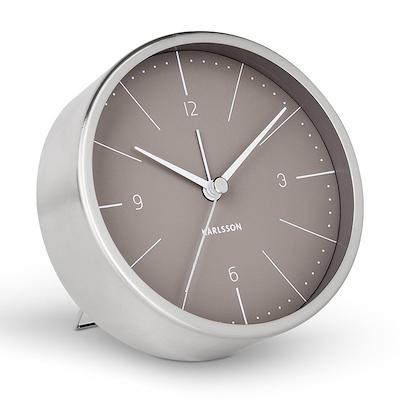 Karlsson vækkeur stål grå 10 cm