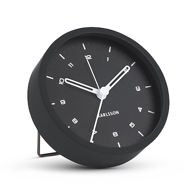 Karlsson vækkeur stål/ sort 9 cm