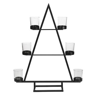 Lysestage i sort metal med 6 glas