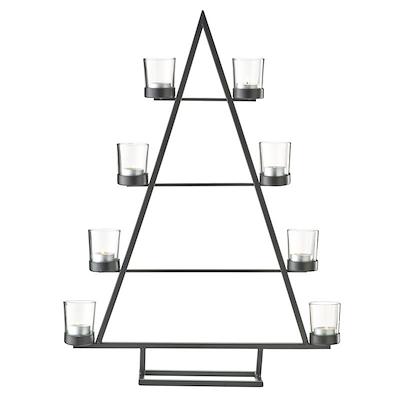 Lysestage i sort metal med 8 glas