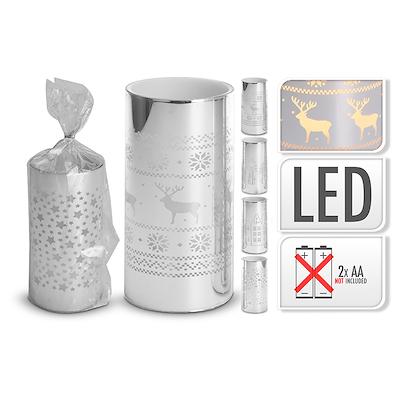 LED lys sølv 7,5x7,5x15 cm - assorteret