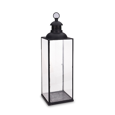 Lanterne sort metal og glas 72 cm