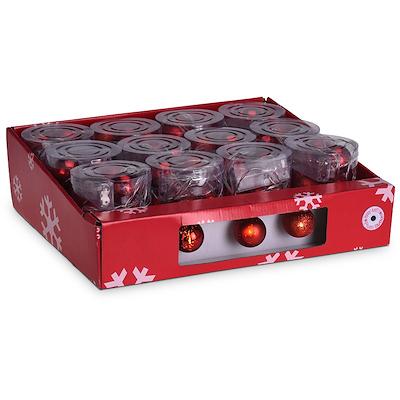 Batterilyskæde 10 røde julekugler