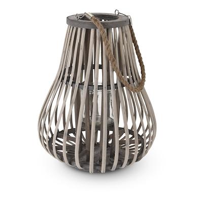 Lanterne med glasindsats 40 cm grå/natur