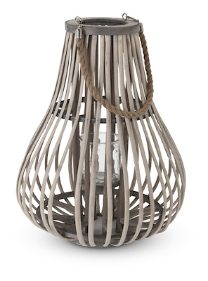 Lanterne med glasindsats 50 cm grå/natur