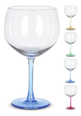 Gin & Tonic glas med farvet fod 4 stk